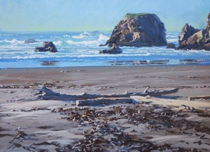 "North Coast Beach (acrylic on hardboard 2015, 12"" X 16"") ""Best Overall Acrylic"" PleinAir Salon Competition, June/July 2015 (PleinAir Magazine) and Honorable Mention with cash award at 5th annual PleinAir Salon and Convention."
